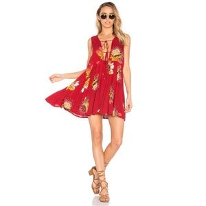 Free People Lovely Day Tunic Mini Dress Tie Front